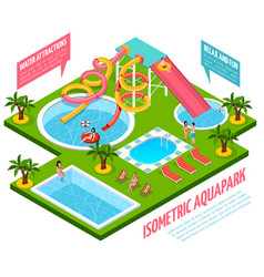 aquapark isometric composition vector image