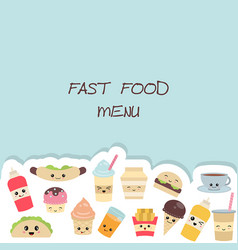 Background with cute fast food meals background vector