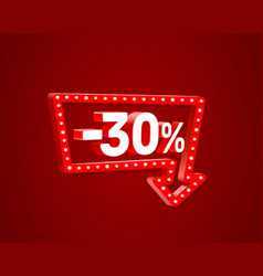 Banner 30 off with share discount percentage neon vector