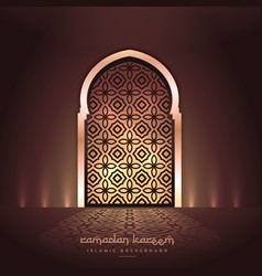 Beautiful mosque door with lights and pattern vector