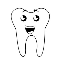 Black icon tooth cartoon vector