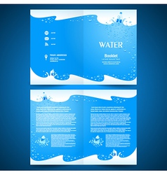 Booklet catalog brochure folder water aqua splash vector