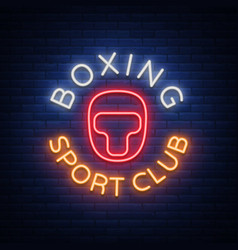 Boxing sports club logo sign in neon style vector