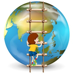 Boy climbing up ladder vector image vector image