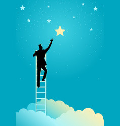 Businessman reach out for stars vector