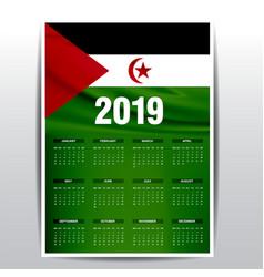 Calendar 2019 western sahara flag background vector