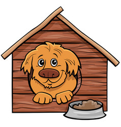 Cartoon dog comic animal character in doghouse vector