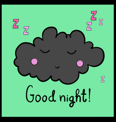 Cartoon gray sleeping cloud good night vector