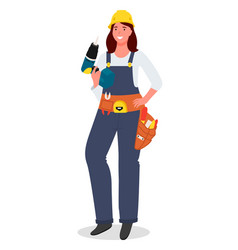 Cartoon mechanic or locksmith woman using a vector