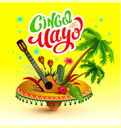 Cinco de mayo banner lettering text greeting card vector