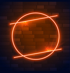Circle brown or orange neon frame with text space vector