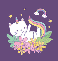 cute caticorn with floral decoration at night vector image