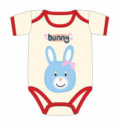 cute clothes for newborn with rabbit vector image