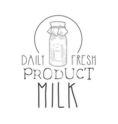 daily fresh milk product promo sign in sketch vector image vector image