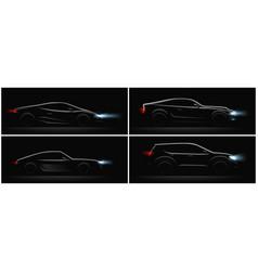 Dark car profiles set vector