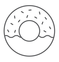 donut thin line icon food and sweet cake sign vector image