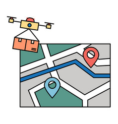 drone delivery or quadrocopter delivering parcel vector image