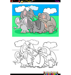 elephants animal characters group color book vector image