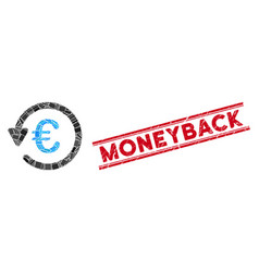 Euro rebate mosaic and distress moneyback stamp vector