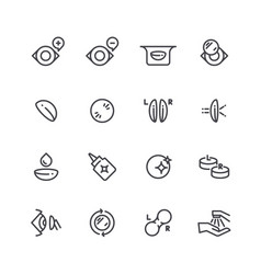 Eye optical lens icons human eyesight correction vector