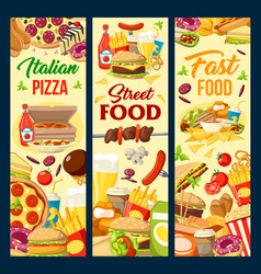 fast food burgers pizza and desserts menu vector image