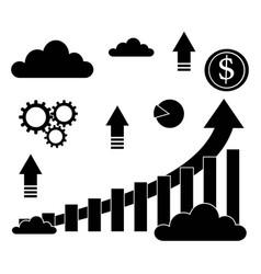 finance progress or graph icon in black color vector image