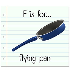 Flashcard letter F is for flying pan vector