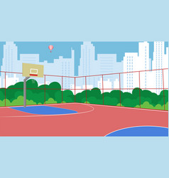 flat basketball court new fenced in park vector image
