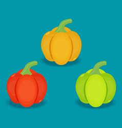 Flat peppers set in different colors vector