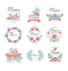 Flower shop logo design set of colorful watercolor vector