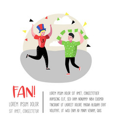 football fans celebrating victory sport supporters vector image