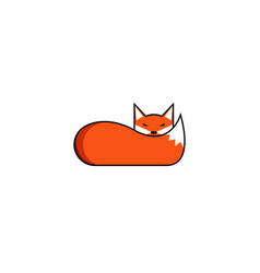 fox logo the animal lies with its muzzle on its vector image