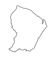 French guiana map of black contour curves on vector