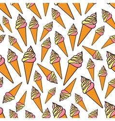 Fruity and vanilla ice cream seamlss pattern vector image