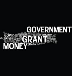 Government grant money text background word cloud vector