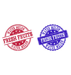 Grunge scratched water melon fresh fruits seal vector