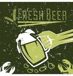 hand with a glass beer on grunge background vector image
