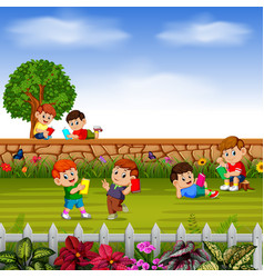 happy children learn together with their friends vector image
