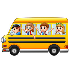 Happy school kids riding a school bus vector