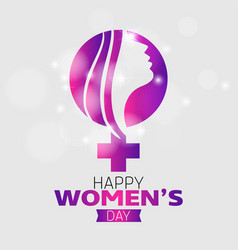 happy womens day typographic design with white vector image