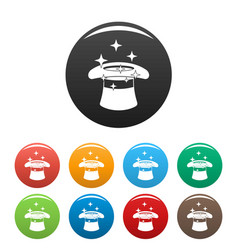 hat with a star icons set color vector image