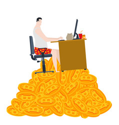 home mining bitcoin freelancer is sitting on a vector image