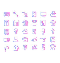Household devices and appliance gradient icons vector
