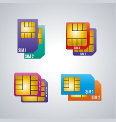 Icons dual sim card vector