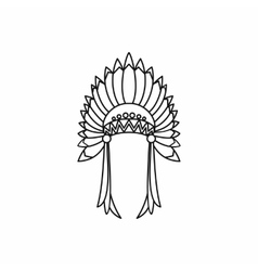 Indian headdress icon outline style vector