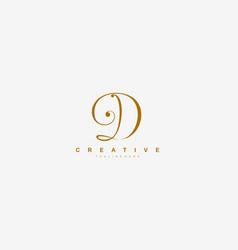initial d letter linked beauty script signature vector image