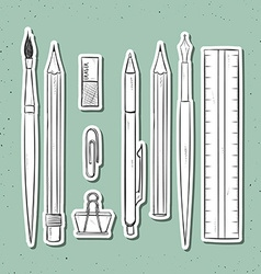 Isolated set stationery handmade in sketch style vector