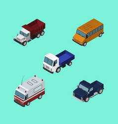 isometric automobile set of freight autobus suv vector image