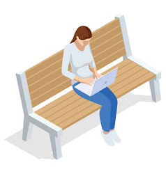 Isometric young woman is sitting on a bench with a vector
