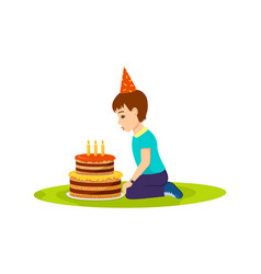 little boy in festive mood blows out birthday cake vector image vector image